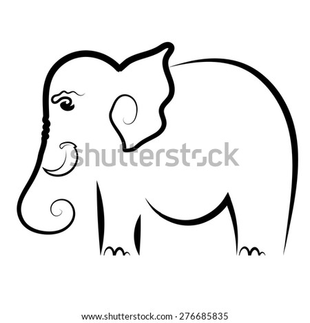 Vector Big Elephant Symbol Isolated on White Background.