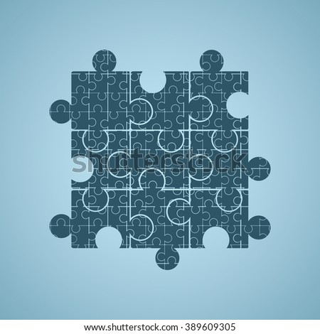 Vector big puzzles consist of small ones. Blue background. - stock vector