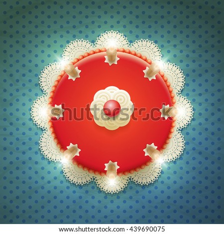 Vector big red cake with candles. Top view. - stock vector
