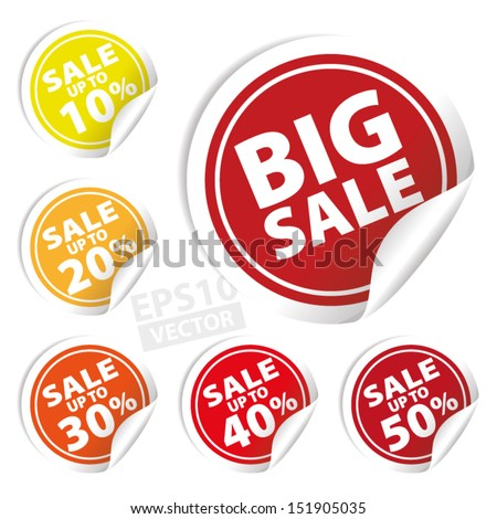 Vector: Big Sale tags with Sale up to 10 - 50 percent text on circle tags - stock vector