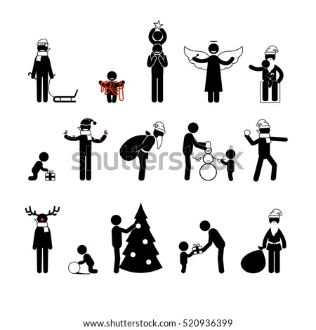 Vector big set. Christmas&new year stick figures