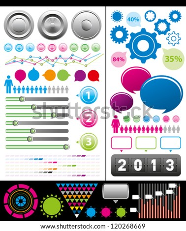 Vector big set of infographics elements usefull for any visualisations - stock vector