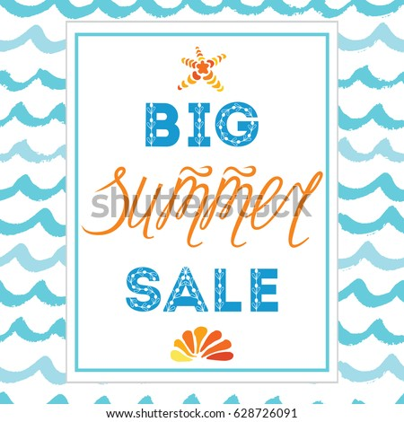 Vector big summer sale hand drawn stock vector 628726091 vector big summer sale hand drawn template made on blue ocean and orange colors with calligraphy pronofoot35fo Choice Image