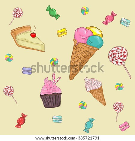 Vector big sweet collection with baked goods, cakes, ice cream. Hand drawn vector illustration in vintage style.