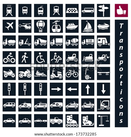 vector  big transportation icon set  - stock vector