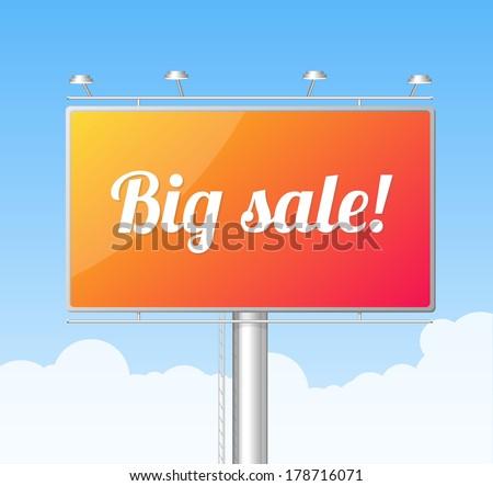 Vector Billboard on blue sky. Big Sale concept - stock vector