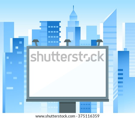 Vector billboard sign with copy space for text and advertising - illustration in blue colors with city landscape - stock vector