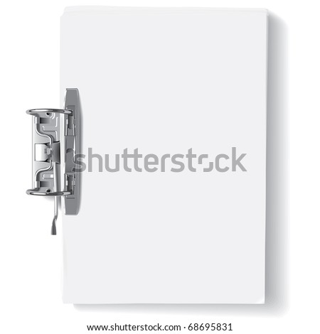 Vector binder metal clip and stack of paper sheets(CMYK) - stock vector