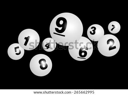 Vector Bingo / Lottery Number Balls Set - stock vector