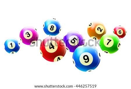 Vector Bingo / Lottery Number Balls Set Colorful - stock vector