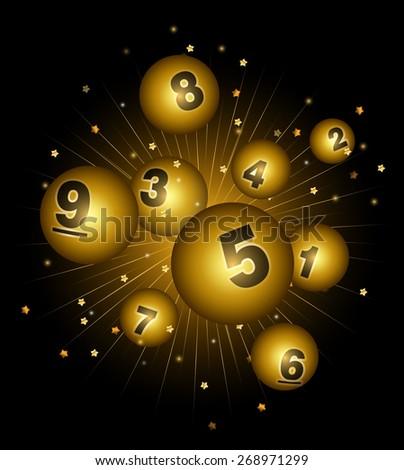 Vector Bingo / Lottery Number Balls Set on Exploding Star Burst Background - stock vector