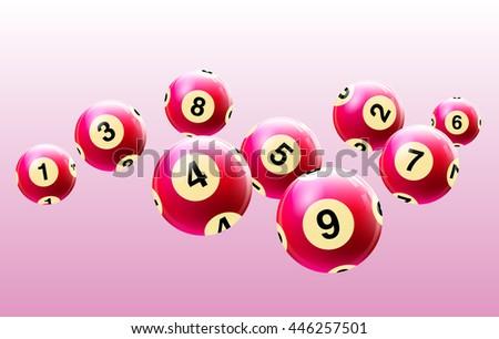 Vector Bingo / Lottery Number Balls Set Red - stock vector