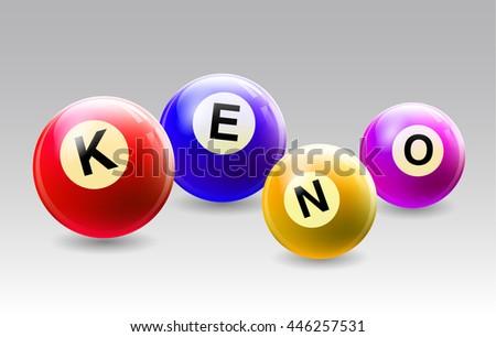 Vector Bingo / Lottery Number Balls Set with text KENO - stock vector