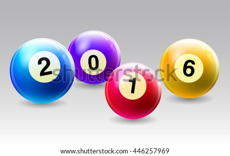 Vector Bingo / Lottery Number Balls Set with the year - stock vector