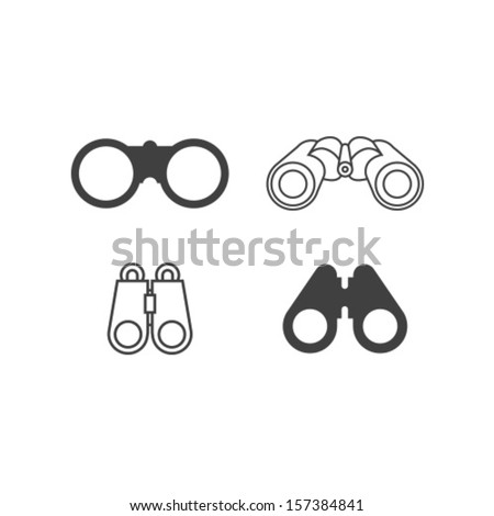 Vector Binocular Icon Symbol Set - stock vector