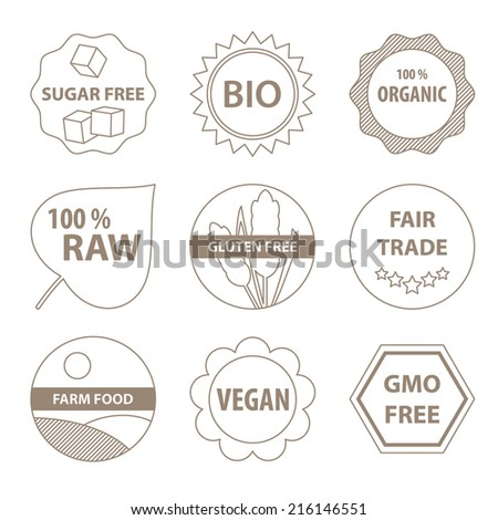 Vector bio and healthy food labels in a simple line style. - stock vector