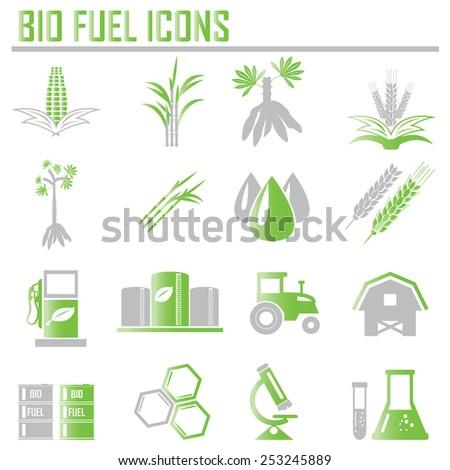 Vector bio fuels refinery plant , bio diesel , icons - stock vector