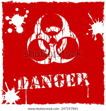 Vector biohazard icon red and white - stock vector