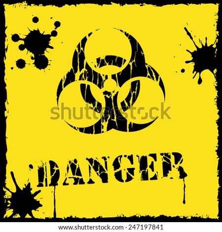 Vector biohazard icon yellow and black - stock vector