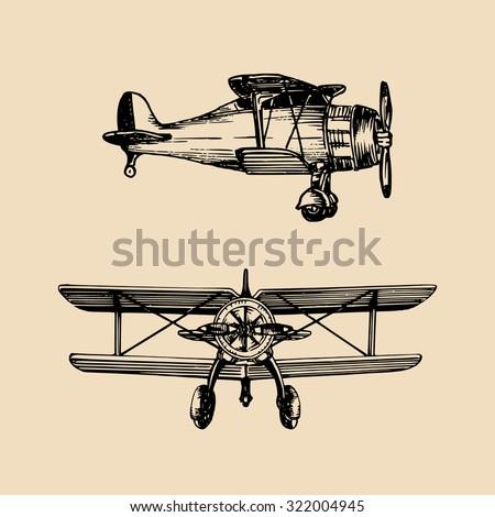 Vector biplane. Vector vintage airplane illustration. Vector retro plane. Retro hand sketched biplane illustration - stock vector