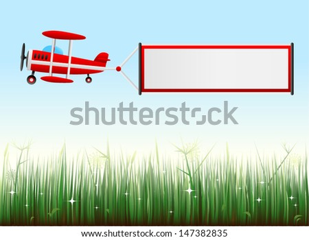 vector biplane with grassy landscape - Separate layers for easy editing - stock vector