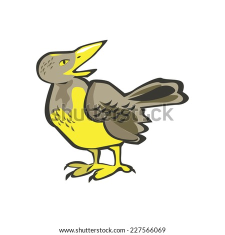 Vector bird isolated on white background. Crow, blackbird. - stock vector