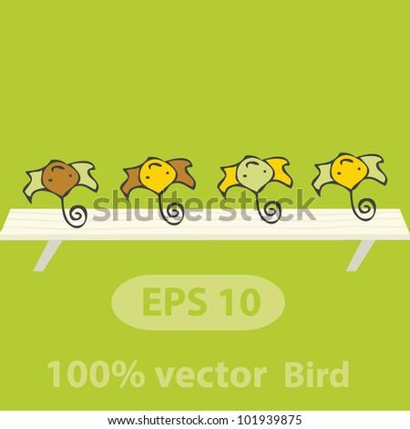 Vector bird on board - stock vector
