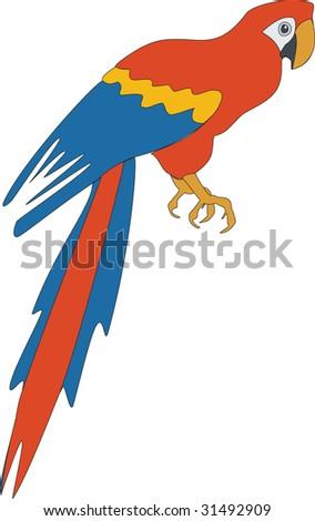 Vector. Bird parrot in color 03 - stock vector