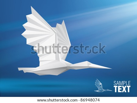Vector bird stylized triangle polygon model - stock vector