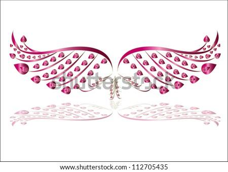 vector bird wing illustration - stock vector