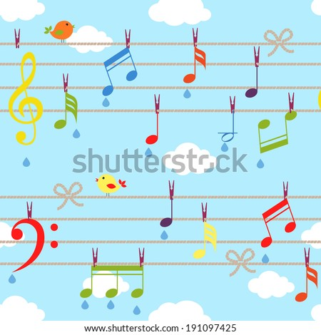 vector birds and music bacjground with clouds on blue - stock vector