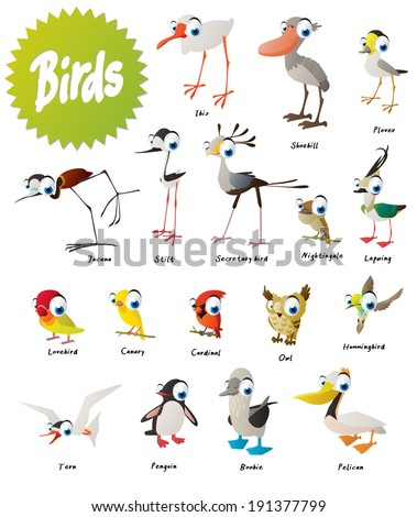 Vector birds set - stock vector