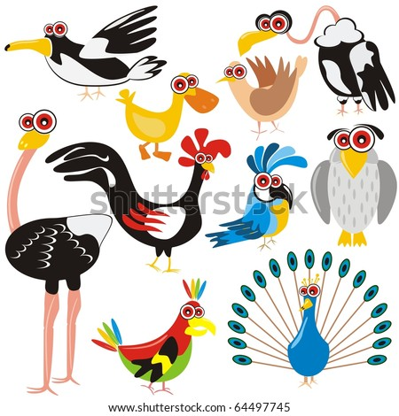 VECTOR - Birds Set - (Peacock, Rooster, Crow, Duck, Ostrich, Parrot, Dove, Eagle, Owl, Gull) - Cartoon Character - These different animals are drawn in cute design - Multi-use illustration - stock vector