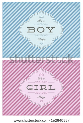 Vector Birth Announcement Template Set Boy Stock Vector