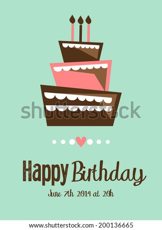 Vector birthday cake  card - stock vector