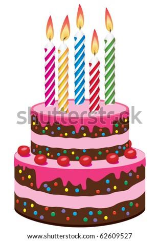 vector birthday cake burning candles stock vector hd royalty free rh shutterstock com