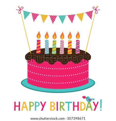 Vector Birthday Cake Candles Stock Vector 307398671 Shutterstock