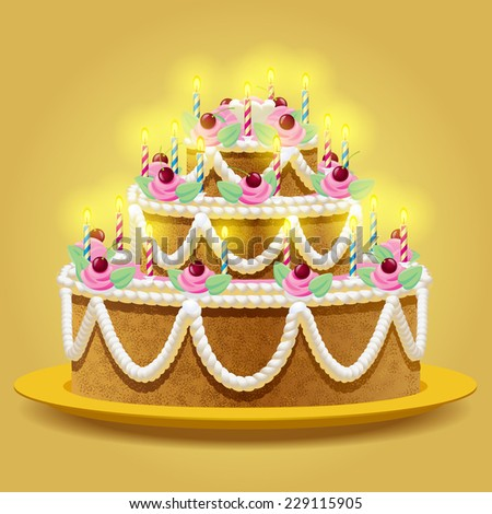 Vector birthday cake with lights on the yellow background - stock vector
