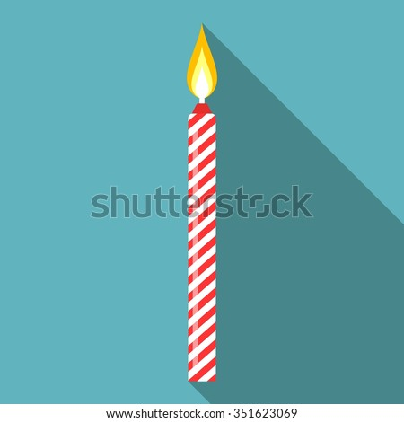 Vector birthday candle, flat design