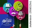 Vector birthday card. Colorful balloons in flat design. Silhouettes on hipster style. Mustaches. - stock photo