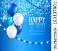 Vector birthday card with balloons, and birthday text. - stock photo