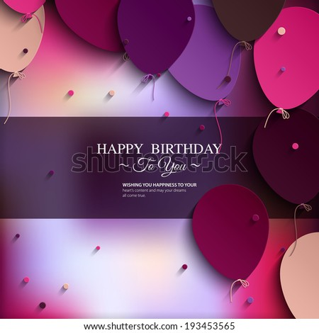 Vector birthday card with balloons, and birthday text. - stock vector