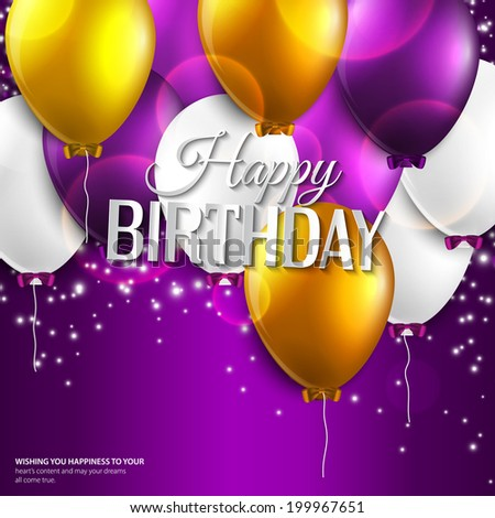 Vector birthday card with balloons and birthday text on purple background. - stock vector