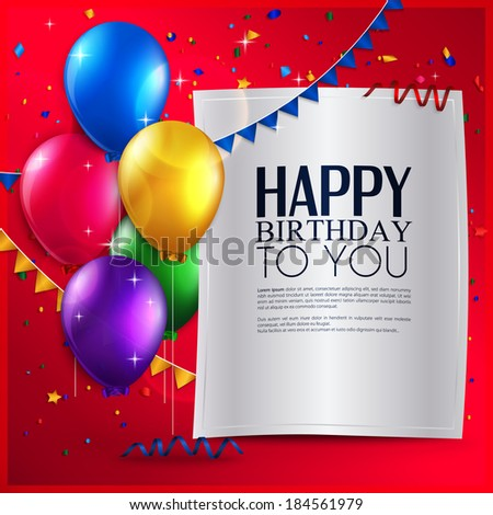 Vector birthday card with balloons, and birthday text on red background. - stock vector