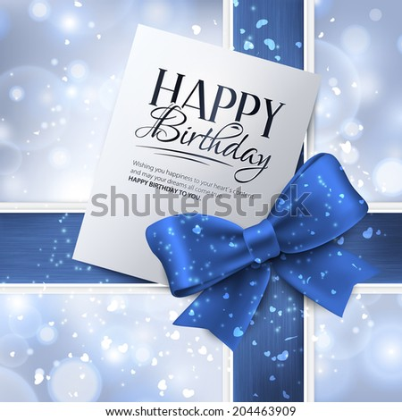 Vector birthday card with blue ribbon and birthday text. - stock vector