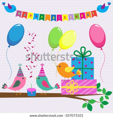 Vector birthday card with cute birds - stock vector