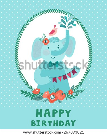 """Vector birthday card with cute smiling elephant and bird. Childish background with cartoon characters, floral frame, bouquet and text """"Happy birthday"""" - stock vector"""