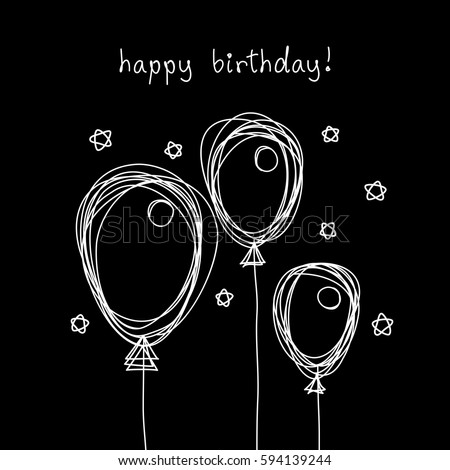 Vector Birthday Card Doodle Balloon Black Stock Photo Photo Vector