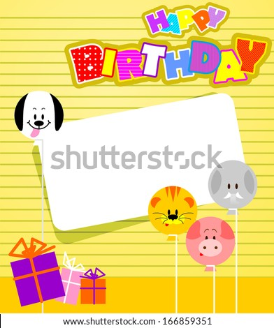 Vector birthday card with funny animals  - stock vector