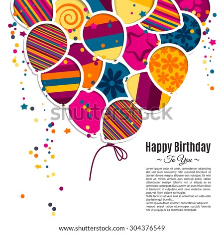 Vector Birthday Card Paper Balloons Style Vector 304362548 – Vector Birthday Card